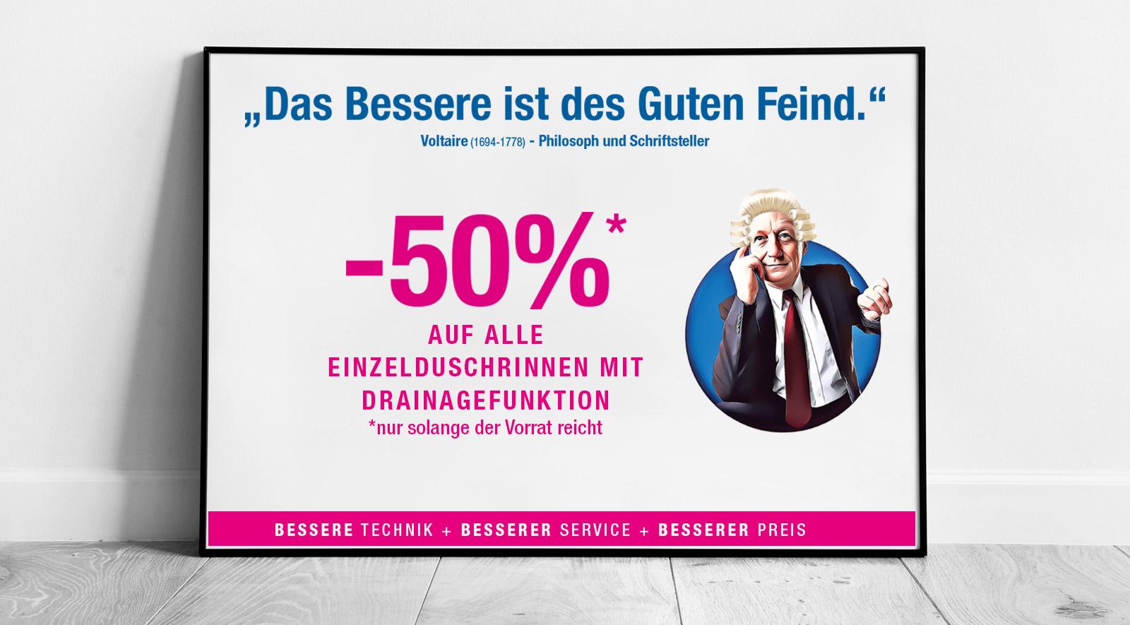 -50% auf alle Einzelduschrinnen mit Drainagefunktion